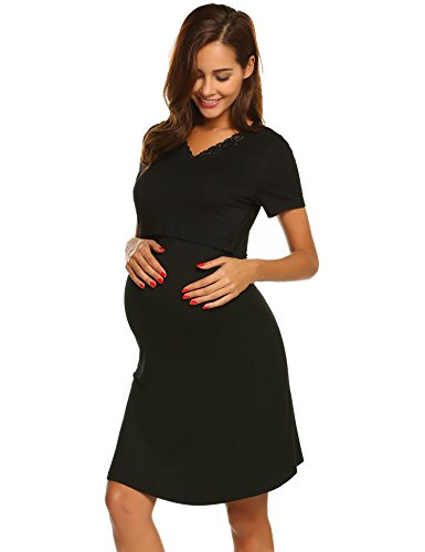 Ekouaer Women's Maternity Summer Solid Short Sleeve Nursing Dress Lace Dress (Black XXL)