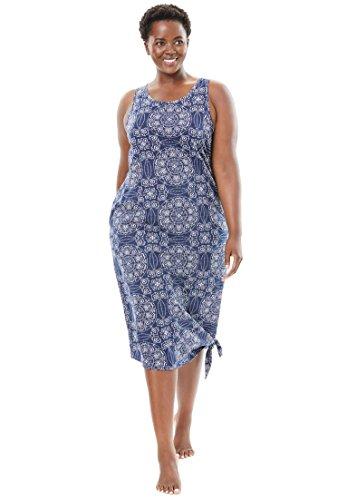 Dreams & Co. Women's Plus Size Short Sleeveless Lounger Navy (Sleeveless Lounger)