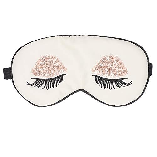 ACTLATI Sequins Eyelashes Pattern Silk Sleep Mask Blindfold Blocks Light Eye Shades