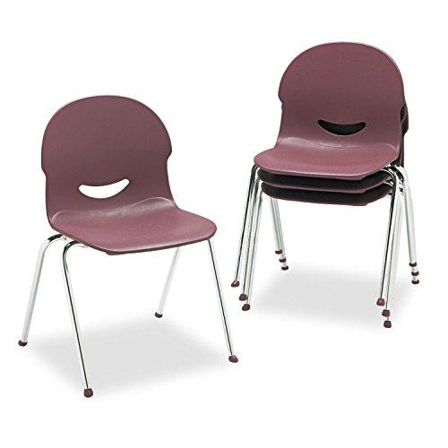 Virco IQ Plastic Stack Chair, Wine, Chrome Frame, Four/Carton (26451750)