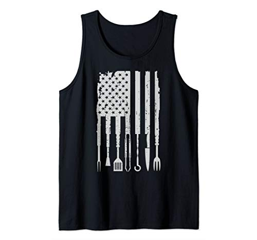 Vintage BBQ Smoker Grilling Barbecue Pitmaster American Flag Tank Top