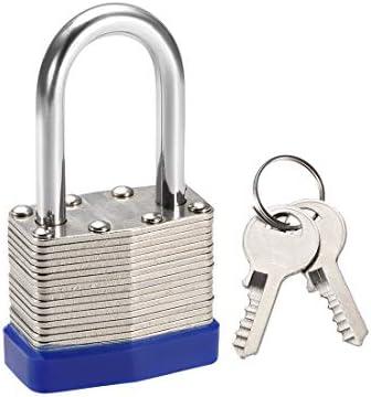 uxcell 異なるキーシャックル安全パドロック38mmスチールロックU字型シャックル