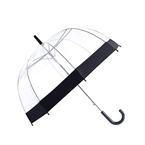 Rainbrace Clear Bubble Umbrella,Auto Open Umbrella Upgraded with Reinforced Fibergrass Ribs, Transparent Clear Dome Umbrella with Color Trim for Women and Kids ()