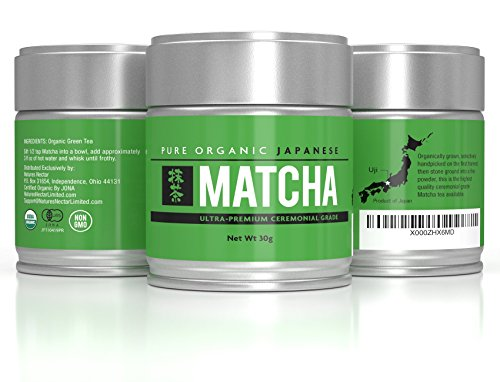 Ultra Premium Pure Natural Organic Matcha Green Tea Powder- Powerful Antioxidant Ceremonial Grade Stone Ground Cultivated in Uji Japan from First Harvest- USDA Organic, JAS Certified- 30 grams per tin