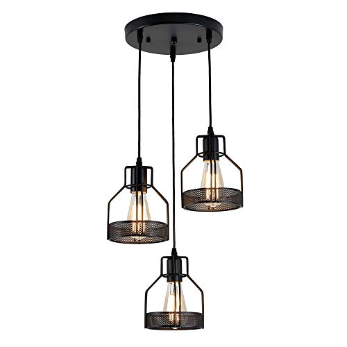 (ZZ Joakoah Industrial Vintage 3-Light Pendant Ceiling Light, Metal Wire Cage Hanging Light Fixture for Kitchen Island Dining Table Hallway Bedroom, 3×E26, Black Painted Finish.)