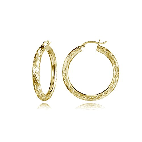 14K Gold Diamond-Cut 4mm Lightweight Small Round Hoop Earrings, 25mm by Hoops & Loops