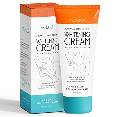 Whitening Cream for Armpits, Intimate Parts, Between Legs - with Collagen - Effective Lightening Cream - Brightens, Nourishes, Moisturizes Underarm, Neck, Knees, Elbows by AsaVea (Bleaching Cream)