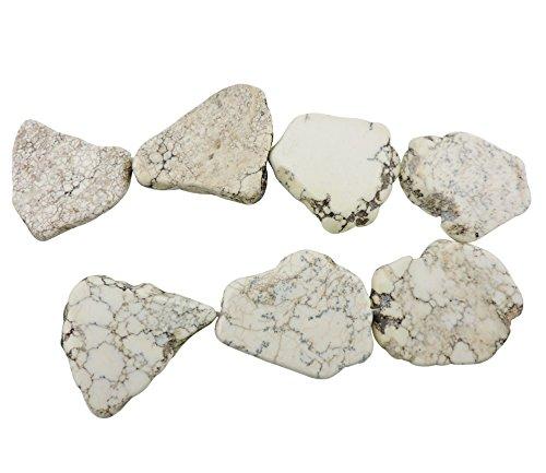 COIRIS 20pcs Natural White Turquoise Gemstone Big Irregular Shape Chips Stone Loose Beads For Jewelry Making (ZS-1133-M)