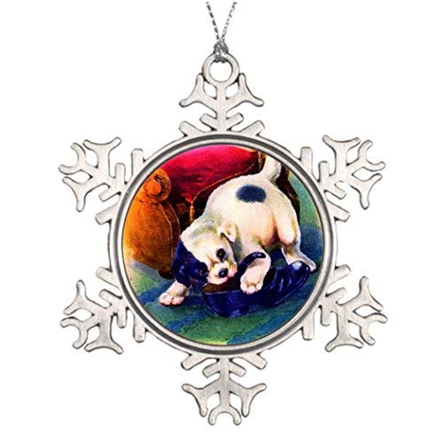 OneMtoss Christmas Snowflake Ornament Ideas for Decorating Christmas Trees 1930s Adorable Puppy no. 3 Chewing on a Shoe Western Christmas Snowflake Ornaments Puppy Illustration