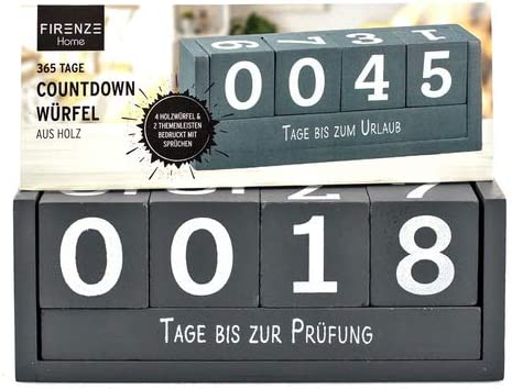 Zahlen Würfel grau Holz Deko Countdown Würfelkalender Dauerkalender Sprüche