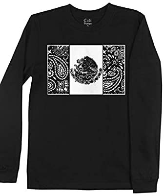 Men's Black Mexico Long Sleeve T Shirt Cholo Chicano Art Lowrider Bandana Tee