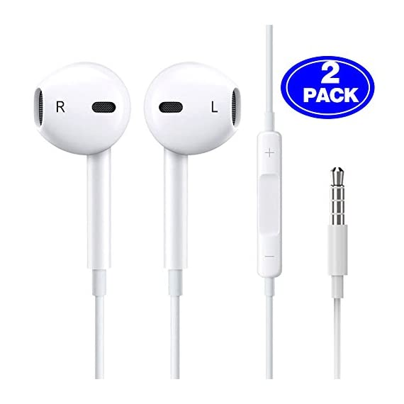 - 411UEiRLqEL - [2 Pack] Earphones/Earbuds/Headphones,Besiva Premium in-Ear Wired Earphones with Remote & Mic Compatible Phone 6s/plus/6/5s/se/5c/iPad/Samsung/MP3 MP4 MP5