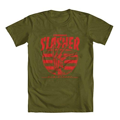 GEEK TEEZ Springwood Slasher Men's T-Shirt Military Green XXX-Large -