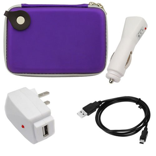 GTMax Purple Eva Pouch Carrying Case + Black USB 2.0 A to Mini-USB B 5-Pin Cable + White USB Home Wall AC Charger + White USB Car Charger for Magellan RoadMate 5045-LM, Maestro 5310 ,Garmin nuvi 1450LM, nulink 1695, nuvi 2300LM, nuvi 2450,TomTom 540 WTE, EASE, 2435, 2535, Best Gadgets