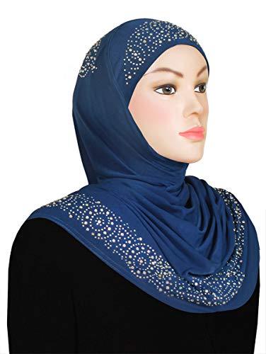 Zelfa One Piece Head Hijab Scarf For Women Lycra Amira With Rhinestones