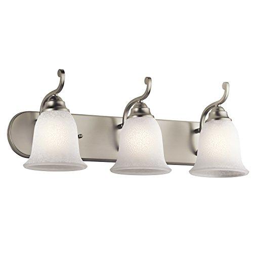 Kichler Lighting 45423NI Camerena 3-Light Vanity Fixture, Brushed Nickel Finish with White Scavo Glass 60%OFF