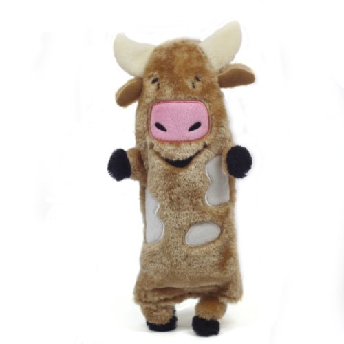 Outward Hound Kyjen  32057 Bottle Buddies Cow Plush Chew Toys Water Bottle, Large, -