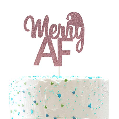 Merry AF Cake Topper Xmas Winter Cake Decor Merry Christmas Happy New Year Party Decorations (Double Sides Gold Glitter)