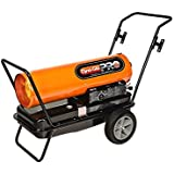 Kerosene Heater Forced-Air Features 2 Heat Options, Tip-Over Safety Switch, Wheels and Wrap Cord for Portability, Orange