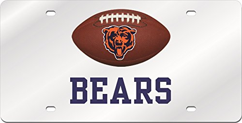 Chicago Bears FOOTBALL Deluxe Silver Laser Cut Acrylic Inlaid License Plate Tag (Laser Plate Chicago Bears License)