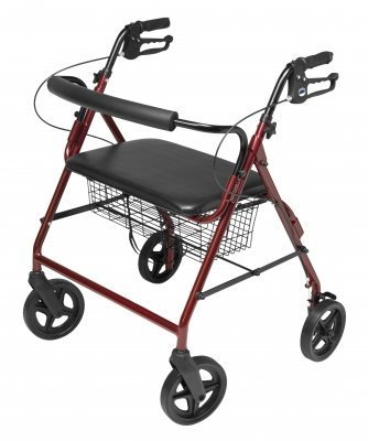 Lumex RJ4405R Walkabout Four-Wheel Imperial Rollator with Contoured Backbar, Burgundy