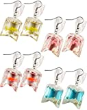 4 Pairs Funny Acrylic Goldfish and Starfish Earrings, Water Bag Shape Dangle Hook Earrings for Girls Women