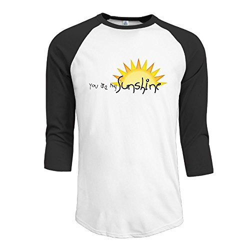 Shanala You are My Sunshine Men's 3/4 Sleeve Raglan Baseball Tee Black Small -