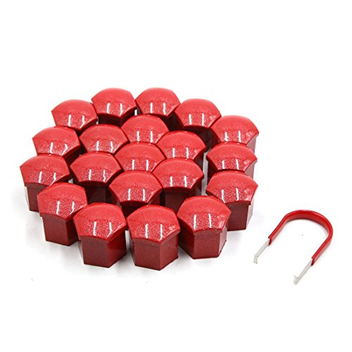 Red Plastic Cap (uxcell 20pcs 19mm Red Plastic Car Wheel Lug Bolt Nut Cover Cap with Removal Tool)