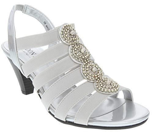 London Fog Nanci Dress Sandals Silver 6.5 M US