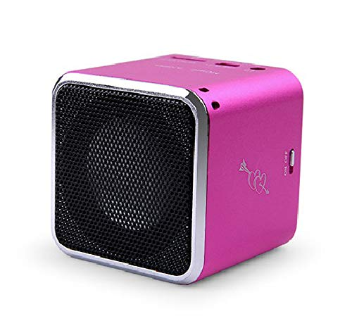 Original Mini Music Angel JH-MD07U Digital Speakers for Cellphone PC Support USB Disk/Micro SD/TF Card MP3 Player FM Radio (Hot Pink)