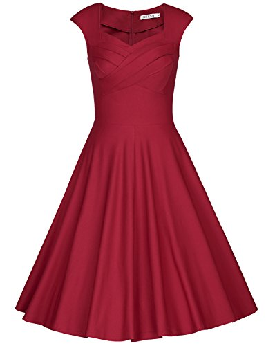 MUXXN Women's 1950s Vintage Retro Capshoulder Party Swing Dress (M, Burgundy)