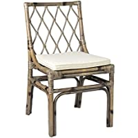 East at Main Amery Brown Natural Fiber Rattan Square Dining Chair, 20x22x33