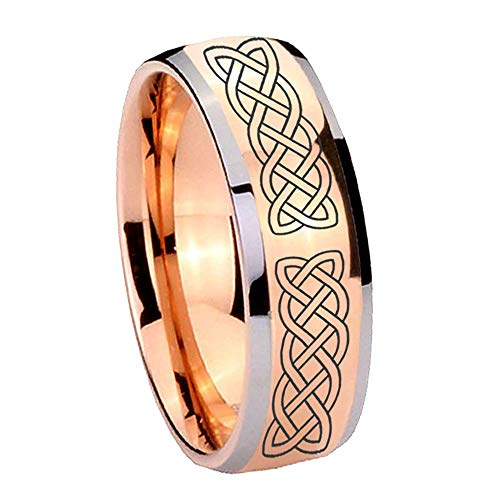 - AnyaDesign Tungsten Celtic Knot Ring, 8mm Glossy Rose Gold Two Tone Dome Tungsten Mens Wedding Band, Man Promise Ring for Him-10