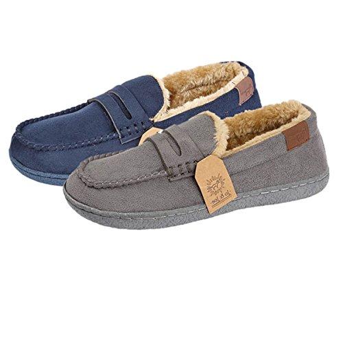 de marino Zapatillas Forrado Tamaño Invierno azul Mocasín Vellón Niños Cálido zapato Júnior Chicos xzw0qAt7w