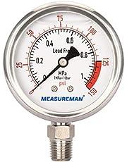 "MEASUREMAN Lead Free Glycerin Filled Reverse Osmosis Pressure Gauge, 2-1/2"" Dial Size, 1/4""NPT Lower Mount, 0-150psi/Mpa"