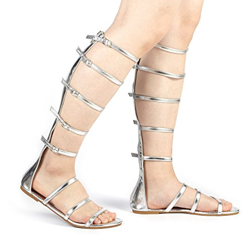 DREAM PAIRS Women's Athena_HIGH Silver Glitter Fashion Gladiator Design Knee High Flat Sandals Size 11 M (Glitter Gladiator Sandals)