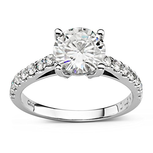 (14K White Gold Moissanite by Charles & Colvard 8.0mm Round Engagement Ring- size 5, 2.22cttw DEW)