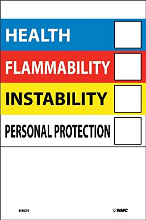 NMC HM25 HEALTH - FLAMMABILITY - INSTABILITY - PERSONAL PROTECTION Label – [Pack of 10] 4 in. x 6 in. Pressure Sensitive Vinyl Right to Know Label