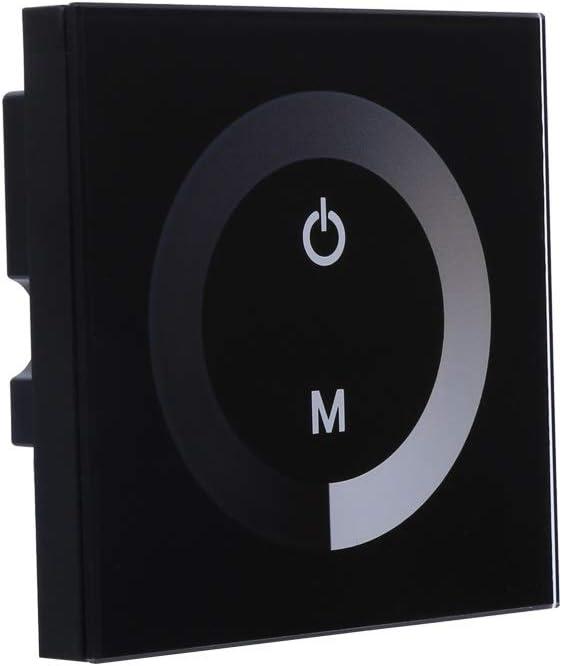 Interruptor de un Solo Color de Panel t/áctil Dimmer Controlador de Pared LED Luz de Tira DC 12V-24V Color : Blanco Powerlift Interruptor de Pared