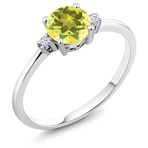 (Gem Stone King 10K White Gold Engagement Solitaire Ring set with 1.03 Ct Round Canary Mystic Topaz and White Created Sapphires (Size 5))