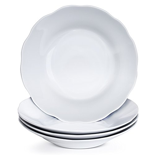 YHY 9 Inch/15oz Porcelain Salad/Pasta Bowls, 4 Piece Soup Bowl Set, White & Shallow, Scallop (Wide Rim Pasta Bowl)