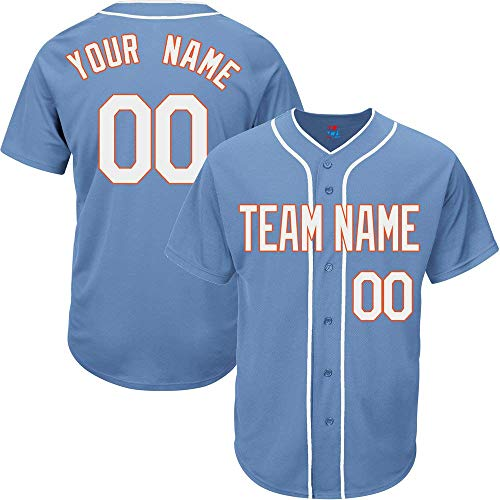 Light Blue Custom Baseball Jersey for Men Women Youth Practice Embroidered Team Name & Numbers S-8XL - Design Your Own