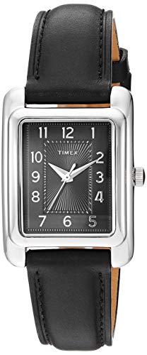 Timex Women's TW2R89700 Meriden Black/Silver-Tone Leather Strap Watch ()