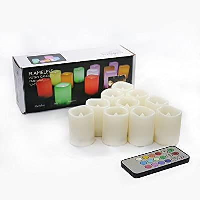 JINLIDA Set of 10 Color Changing, Multi-color Flameless LED Votive Candles with Remote and Timer