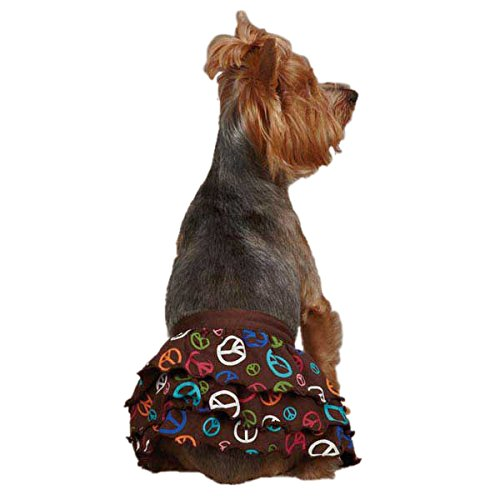 East Side Collection ZM3037 14 25 Peace Out Ruffle Skirt for Dogs, Small/Medium, Brown