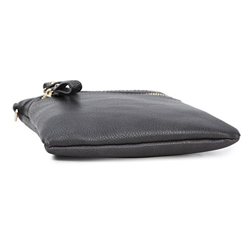 Multi Leather Pockets Handbag Detachable Charcoal Solene Organizer Crossbody With Wristlet Grey Women's Faux Zipper Bag qnxFIE
