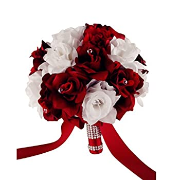 Wedding Bouquet - 9'' Wide - 1.5 Dozen Apple Red and White Roses