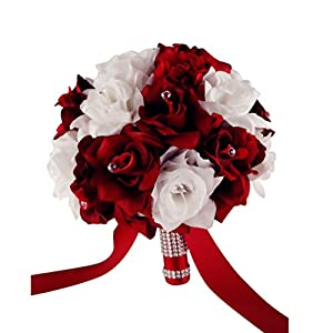 Wedding Bouquet - 9'' Wide - 1.5 Dozen Apple Red and White Roses 16