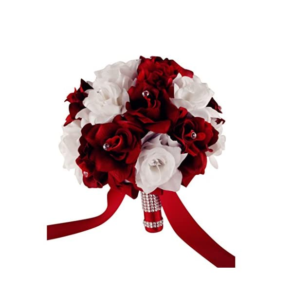 "Angel Isabella Wedding Bouquet – 9"" Wide – 1.5 Dozen Apple Red and White Roses"