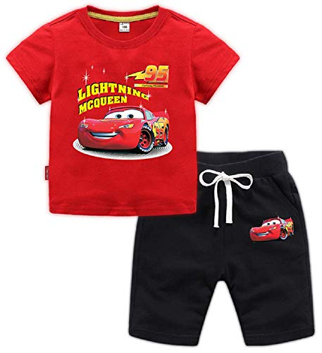 Boys 95 Cars Lightning McQueen 2PC Shirt Set Featuring with Short Athletic Pant for 1-13Years Boys(Red, 4T)